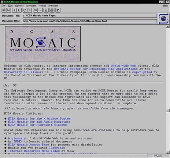 Пример интерфейса браузера Mosaic
