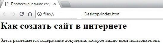 Наглядный пример отображения html страницы в браузере