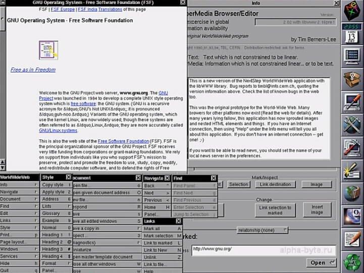 Пример отображения интерфейса браузера WorldWideWeb