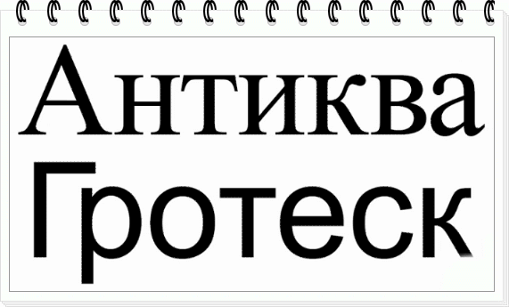 Сравнение отличий в шрифтах Антиква и Гротеск