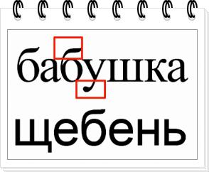 Верхние и нижние выносные элементы у букв в обычном шрифте